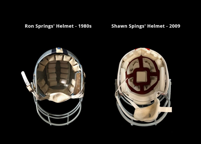 side by side photo of Ron Springs' helmet and Shawn Springs' helmet.